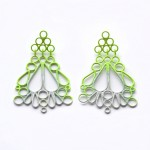 triangle drop earrings powdercoated in three colour gradation