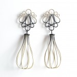 fancy drop cage earrings powdercoated in three colour ombre