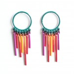 fringe post earrings in emerald with a violet, red and orange fringe