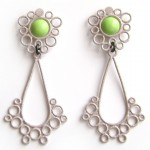 large drop stud earrings in lime green and slate powdercoat