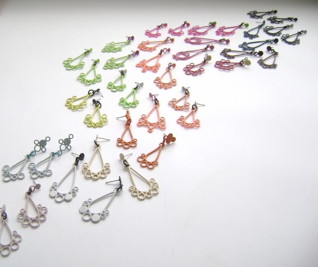 victorian style drop earrings powdercoated in a variety of colours