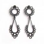 large matte black drop statement earrings