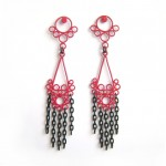raspberry red large drop earrings with black chains