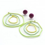 hoop stacking earrings in green, slate and yellow powdercoat