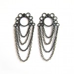 matte black powderocated stud earrings with black chain