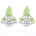 triangle drop earrings powdercoated in three colour ombre