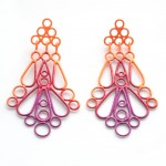 large drop statement earrings in threee colour powdercoat ombre