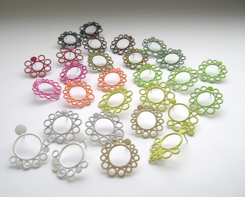 Stud post circle earrings powdercoated in a variety of colours