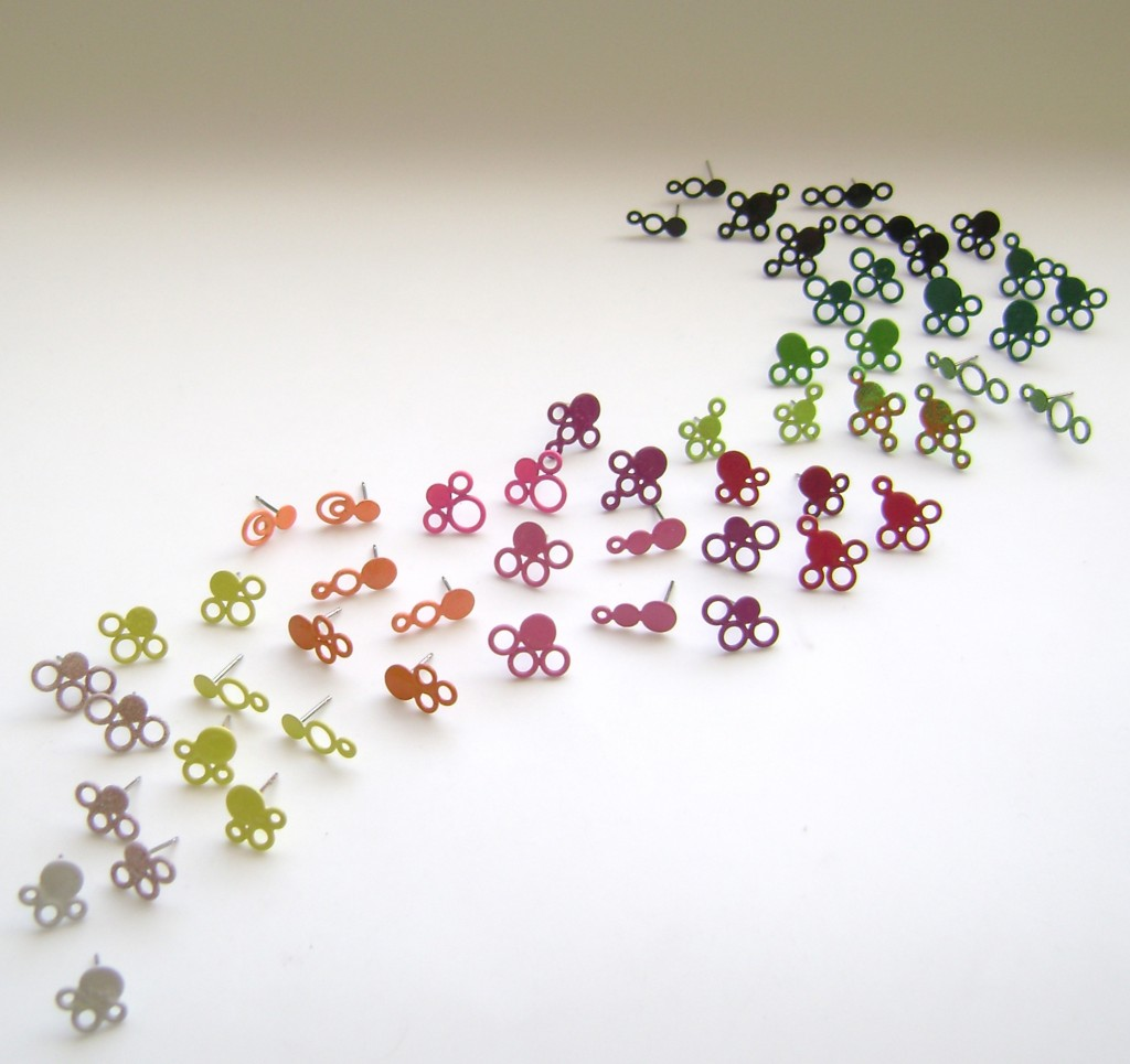 small stud earrings with steel post powdercoated in a variety of colours