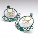 round circle stacking earrings in emerald and ivory powdercoat