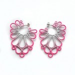 large statement hoop earrings in three colour powdercoat gradation
