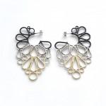 hoop earrings powdercoated in black, grey and ivory