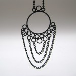 circle black necklace with black chain