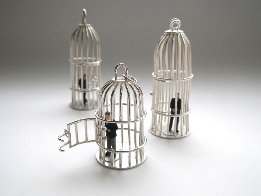 bird cages with bankers in silver by Studio METHOD(E)