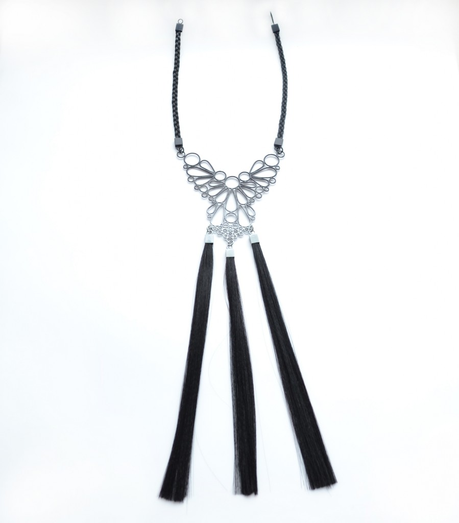 large black to grey ombre powdercoated wire necklace with synthetic hair