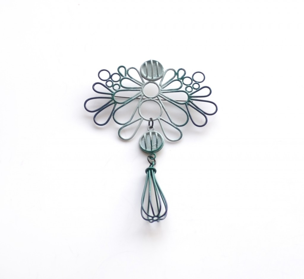large ombre brooch, made with copper wire and powdercoated from navy to slate
