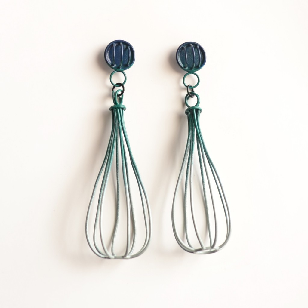 large cage earrings powdercoated in navy to slate ombre