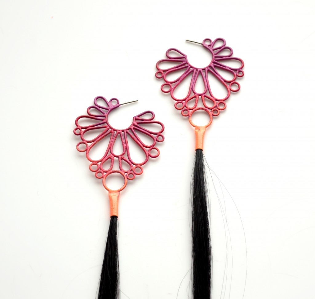 large ombre earrings powdercooated in violet to neon orange with long sythetic hair