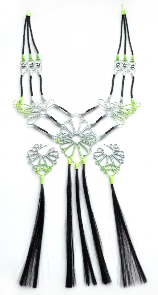 large ombre powder coat necklace with earrings, green