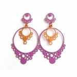 large violet and orange drop earrings