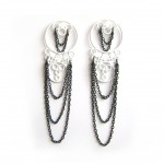 large white post earrings with chain
