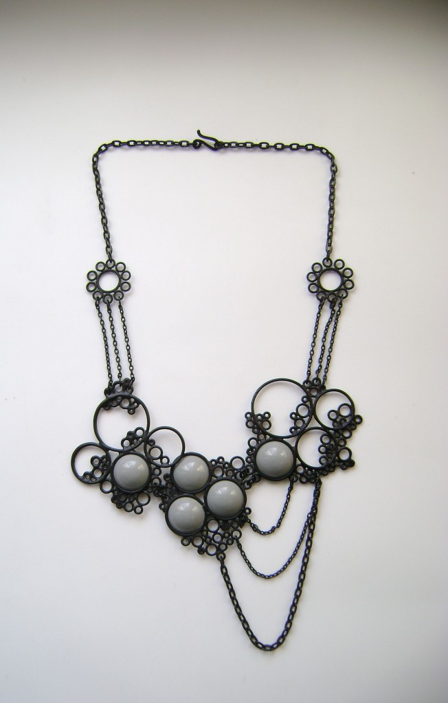 one of a kind matte black and grey necklace