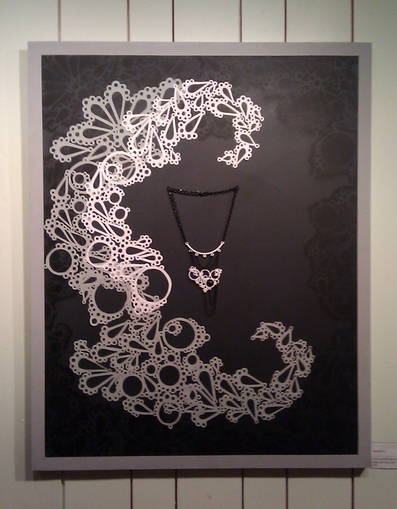 répétitions, large statement necklace powdercoated in white on paper cut and stencil background