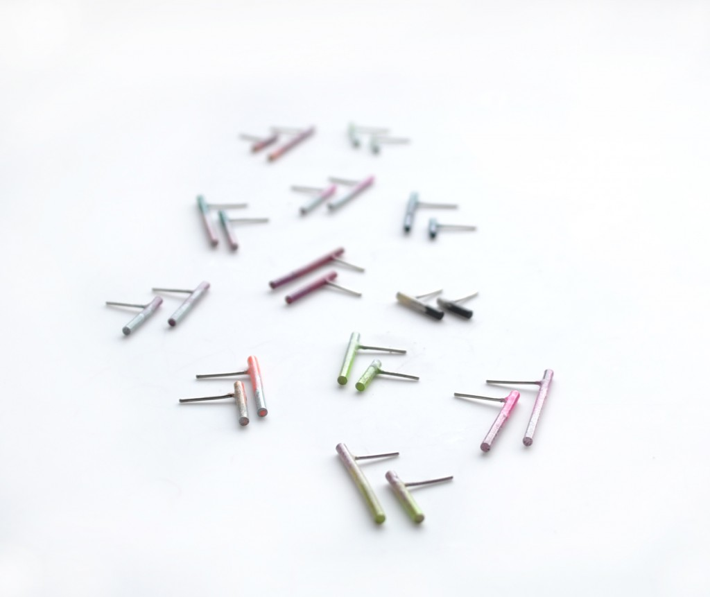 simple line earrings studs powder coated in a variety of colours