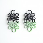 shadow earrings with a green and grey powdercoat ombre gradation