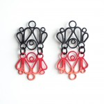 shadow earrings, red and orange ombre, matte black powder coat stud