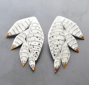 Cage feather earrings powder coated white with gold leaf detail