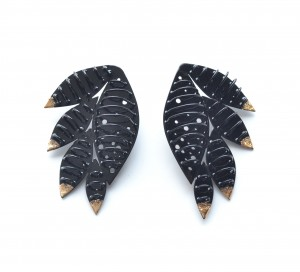 feather cage earrings powdercoated black with gold leaf detail