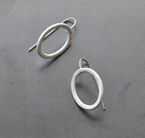 white oval earrings with hypoallergenic hooks