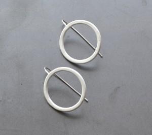 simple modern hook earrings powdercoted in white