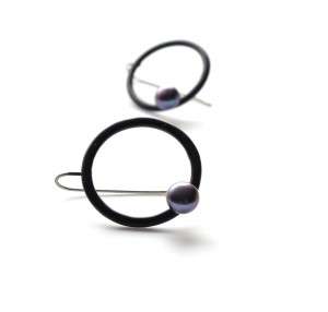modern black hook circle earrings with black pearls