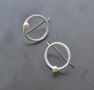 simple modern circle hook circle earrings in white