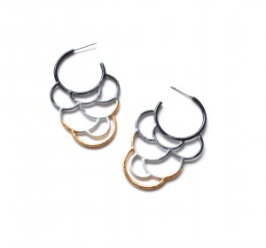 side hoop circle earrings in ombre powdercoat with gold leaf detailing