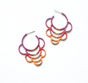 side hoop circle earrings in violet to orange ombre powdercoat with gold leaf detailing