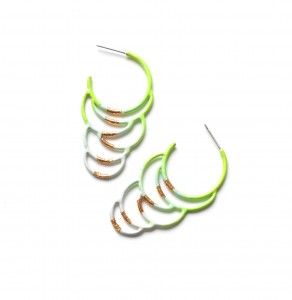 circle hoop earrings with gold leaf detailing in neon green to grey ombre powdercoat