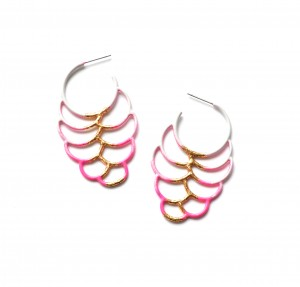 side hoop circle earrings with gold leaf detailing in grey to neon pink ombre powdercoat