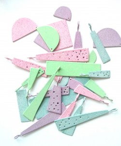 powder coated pastel pieces for brooches