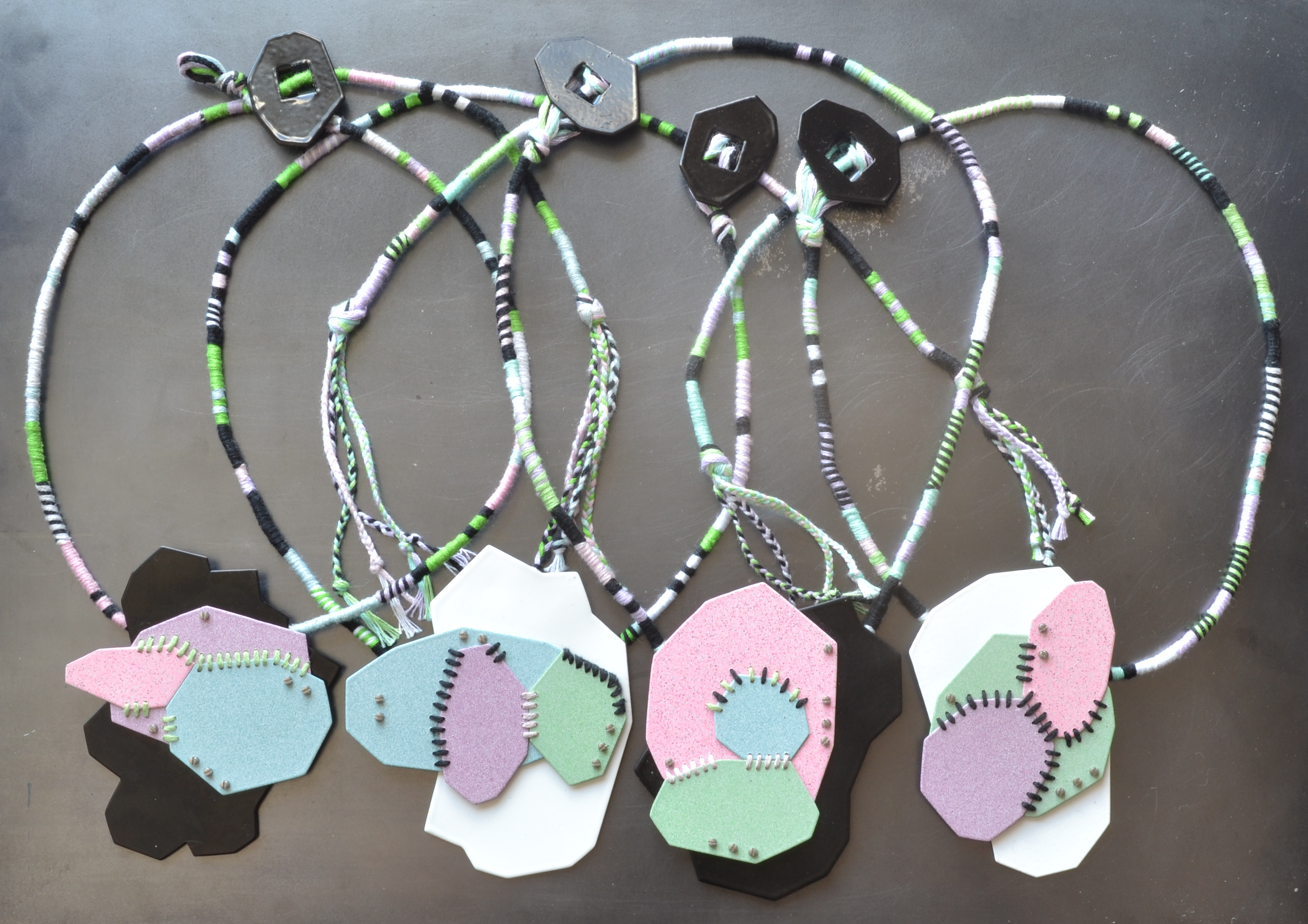 pastel sewn necklaces, group photo, photo 1