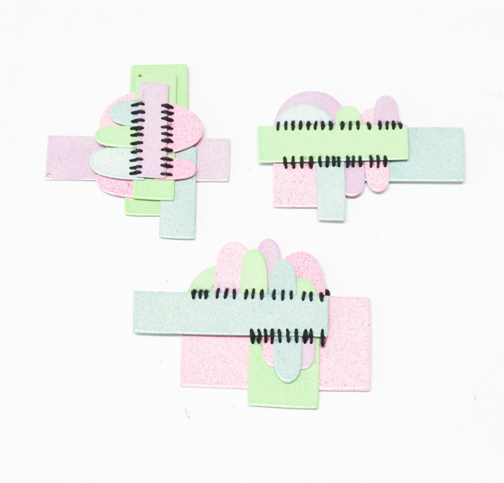 geometric pastel pieces sewn for contemporary jewelry exchange