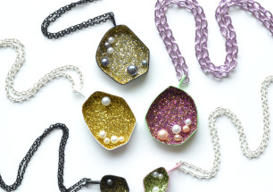 Geometric geode necklaces powdercoated in pastel colours