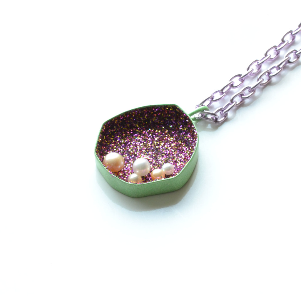 green geometric magenta sparkle necklace with purple chain