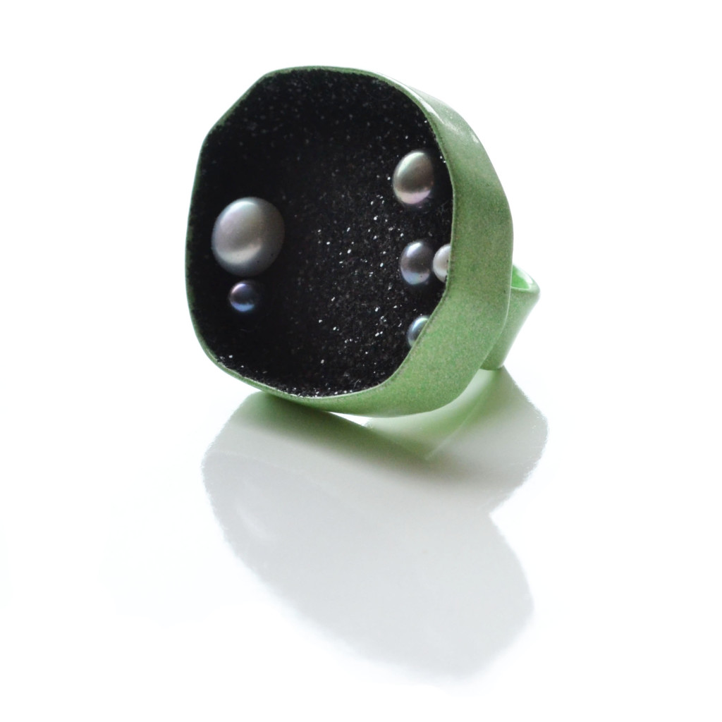 large geometric geode sparkle ring pastel green with black pearls