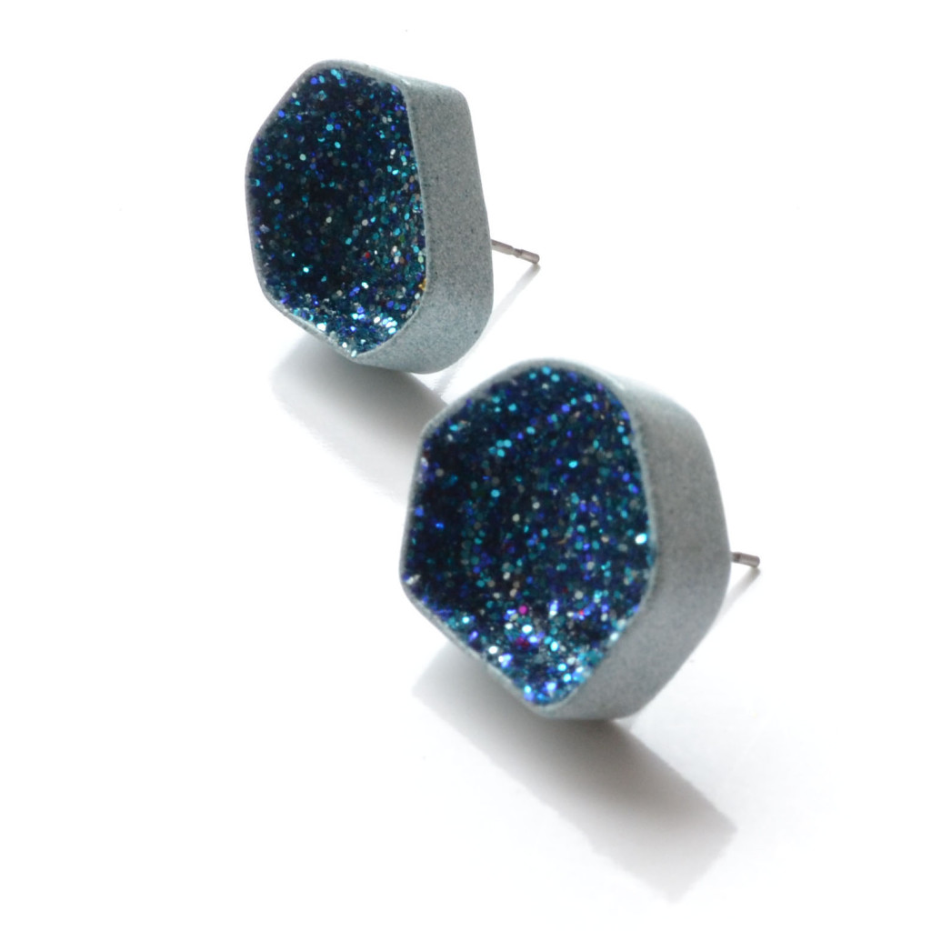 pastel blue earrings with truquoise glitter
