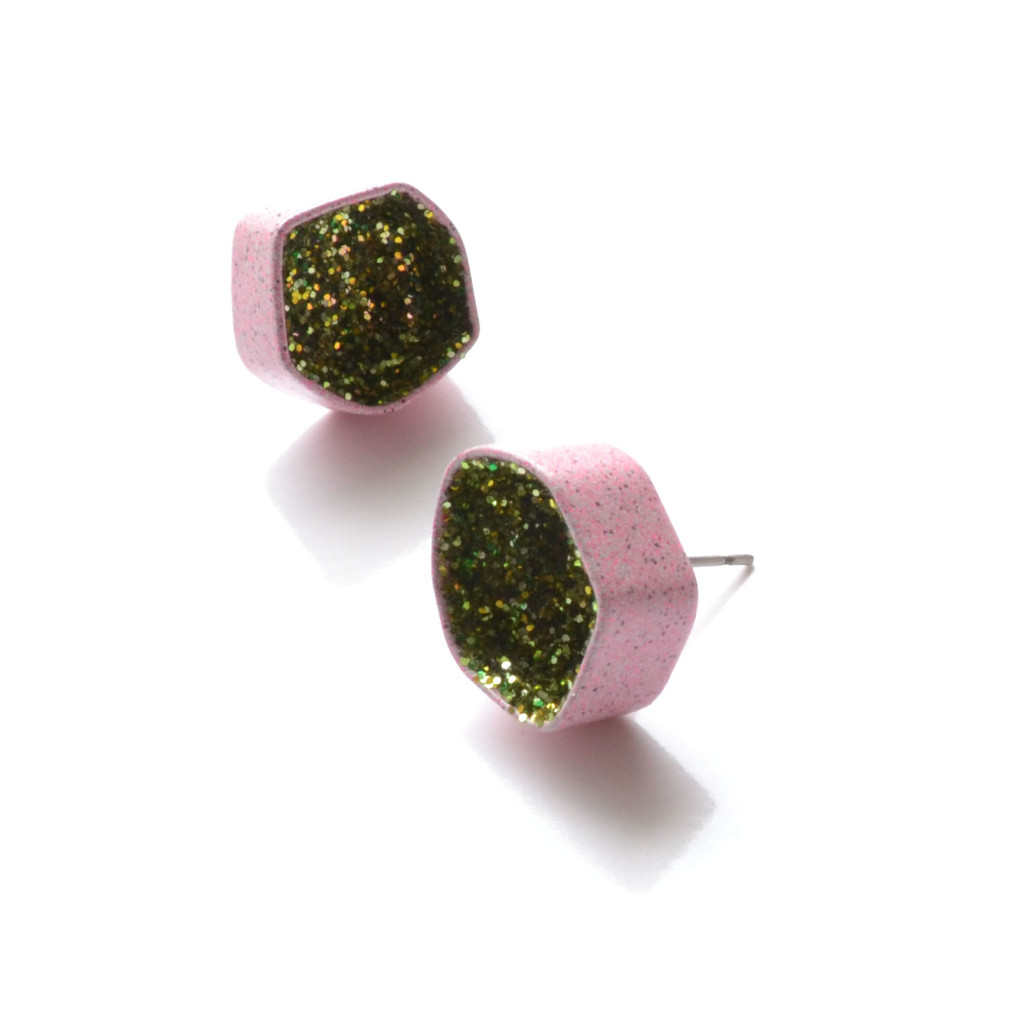 pink post earrings, geode studs in pink powder coat and green glitter