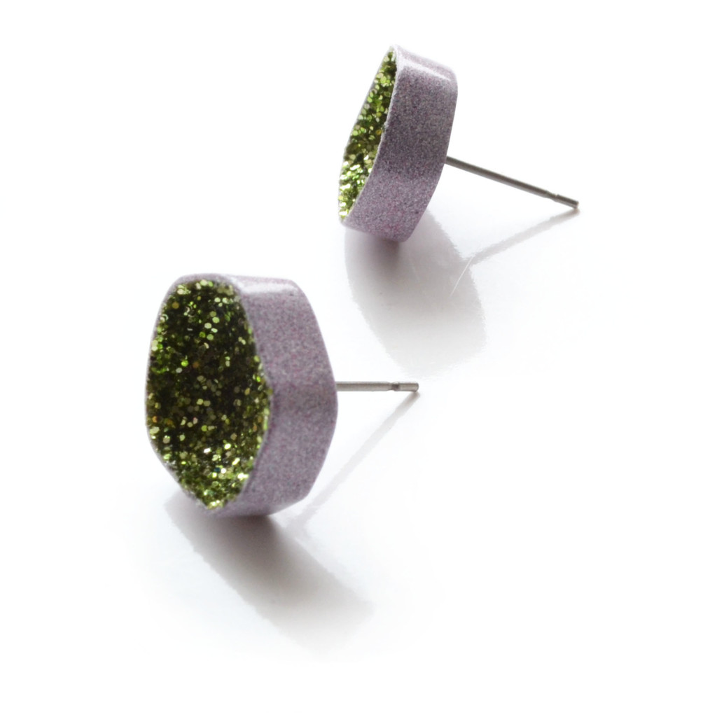 pastel violet stud earrings in green glitter
