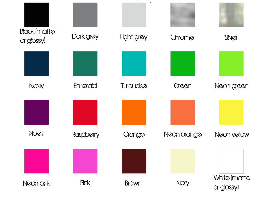 powdercoat chart, available colours